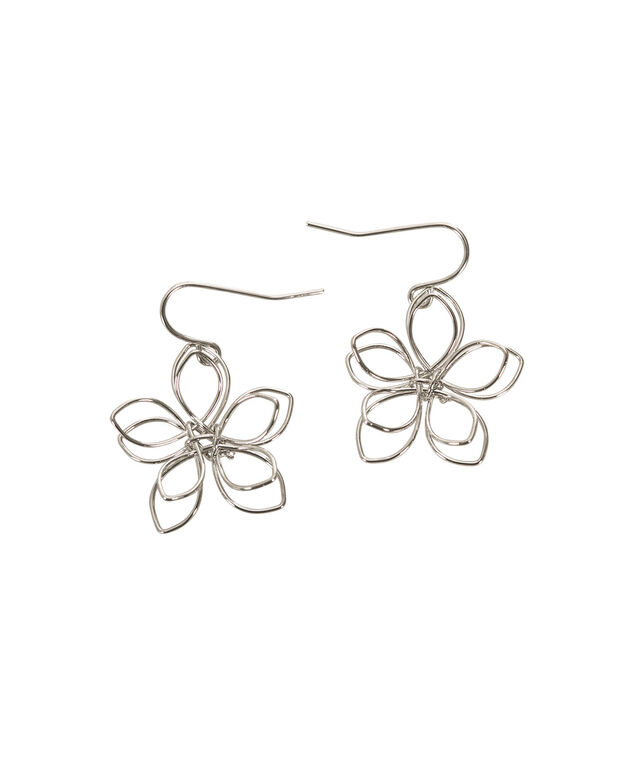 Wire Flower Earring, Rhodium, hi-res