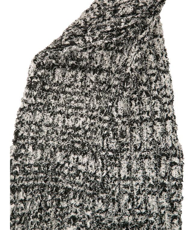 Plush Fringe Scarf, White/Black, hi-res