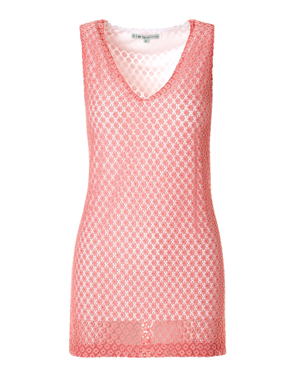 Coral Lace V-Neck Tunic, Coral/White, hi-res