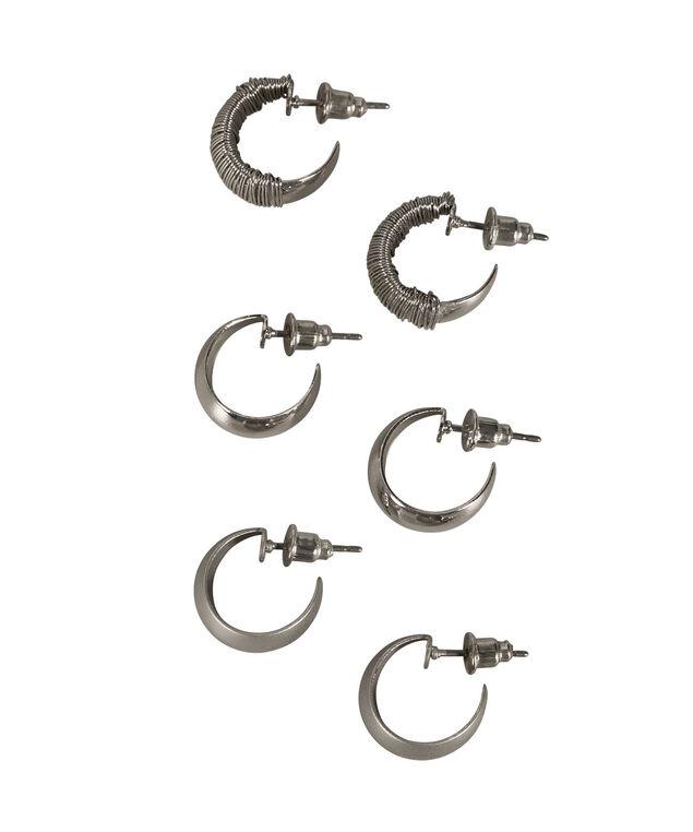 Hoop Earring Trio, Rhodium, hi-res