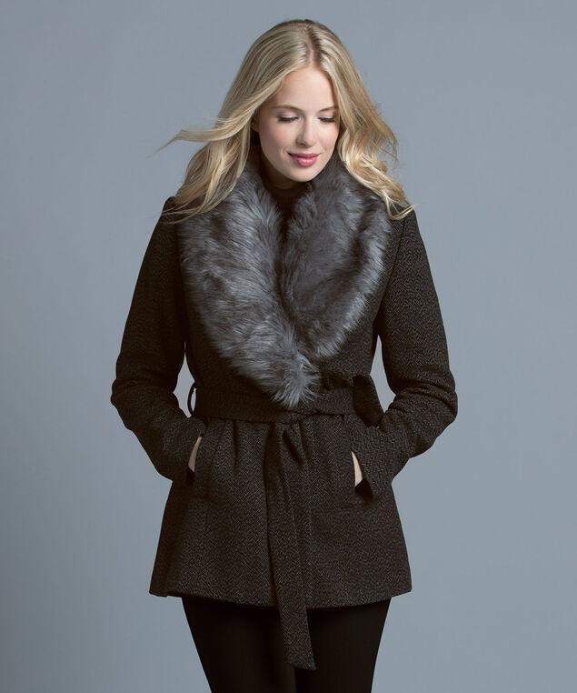 Fur Collar Coat, Grey, hi-res