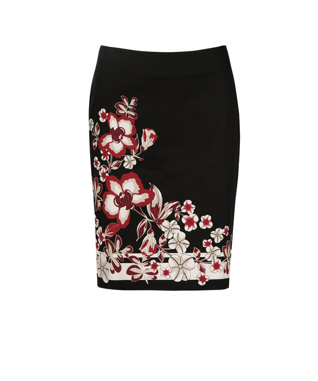 Border Print Pencil Skirt, Poppy Red, hi-res