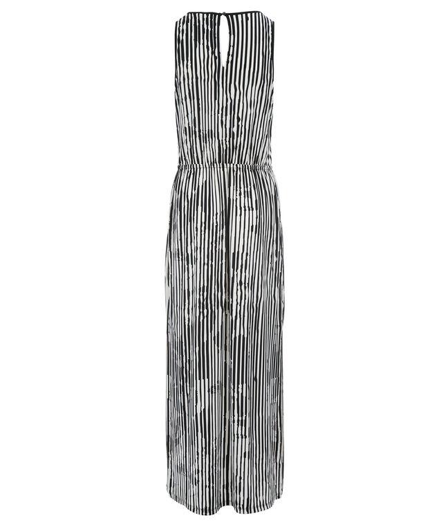 Keyhole Side Slit Maxi Dress, Black/White, hi-res