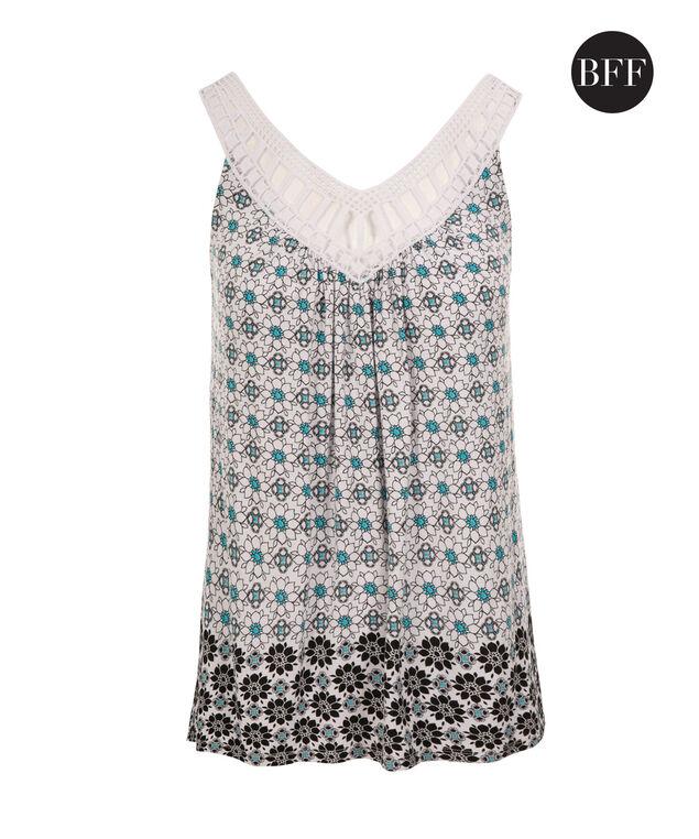 Crochet Trim Tank, Black/White Print, hi-res