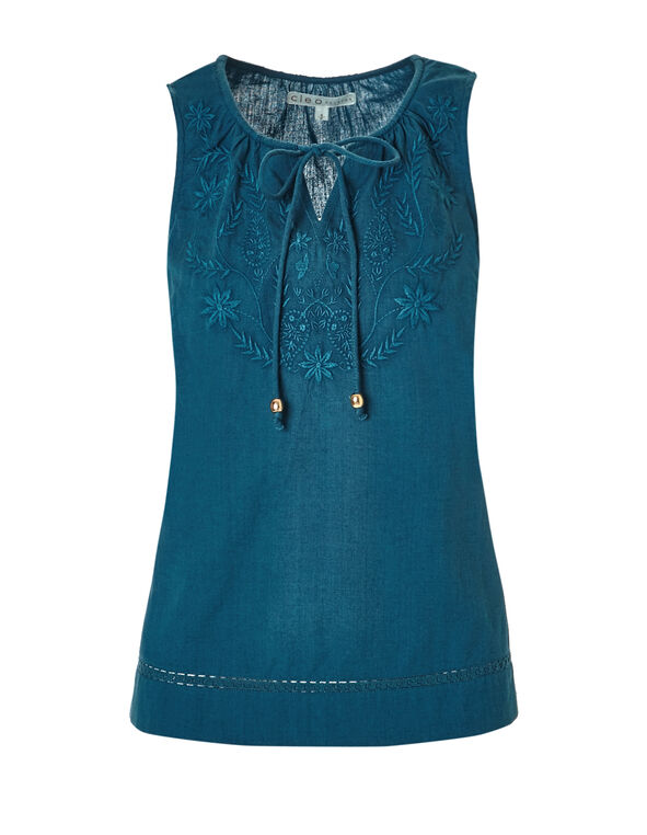 Turquoise Embroidered Tie Blouse, Dark Turquoise, hi-res