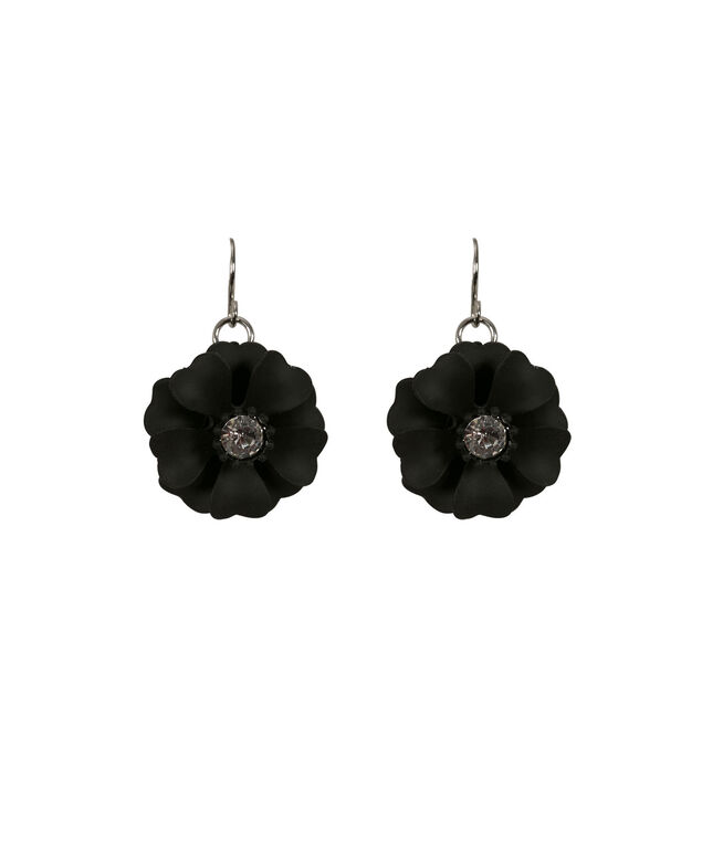 Painted Floral Statement Earring, Black/Rhodium, hi-res