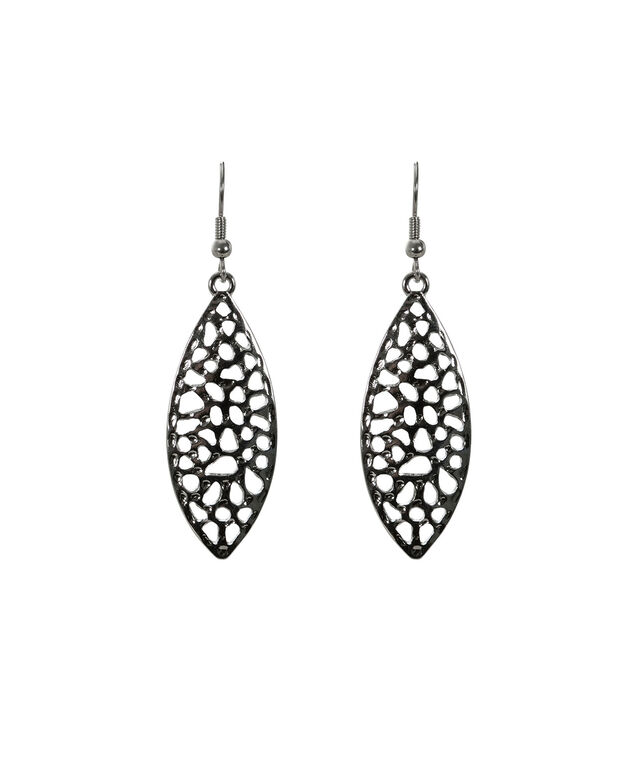 Leaf Shape Earring, Rhodium, hi-res