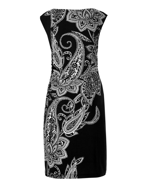Paisley Print Shift Dress, Black/White, hi-res