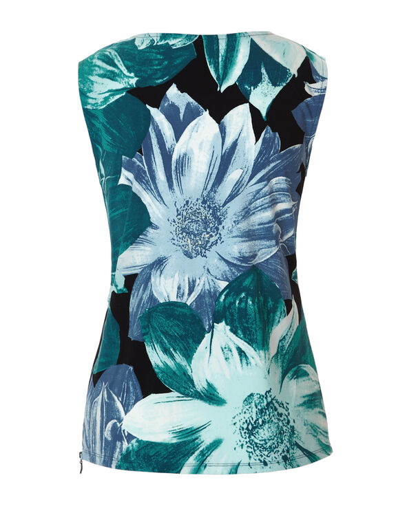 Floral Print Zipper Top, Rio Frio/White/Petrol Blue/Black, hi-res