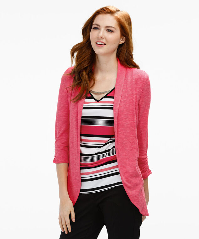 V-Neck Hardware Top, Coral Print, hi-res
