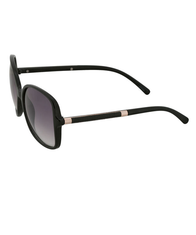 Wrapped Arm Detail Sunglasses, Black, hi-res