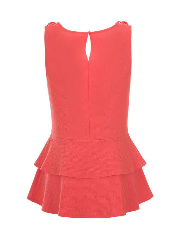 Double Peplum Top, Burnt Coral, hi-res