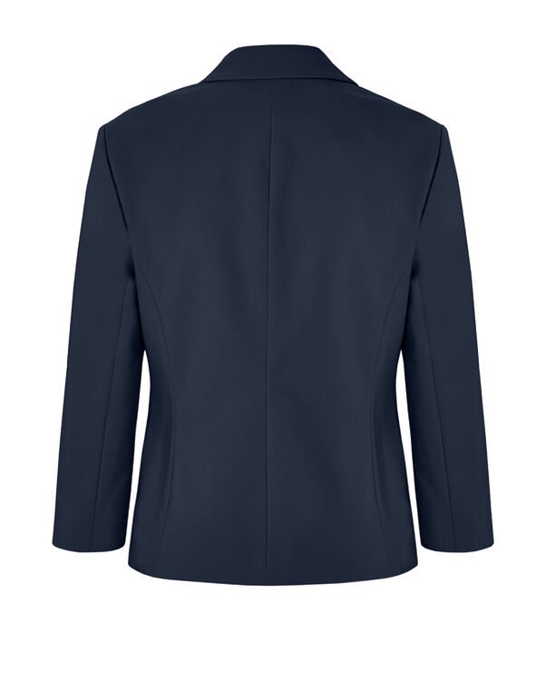 Navy 3/4 Sleeve Blazer, Navy, hi-res