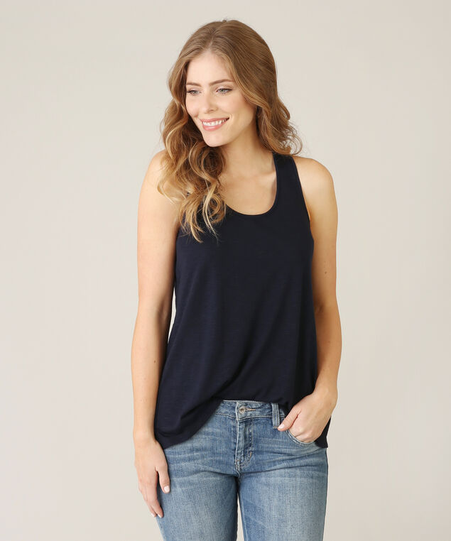 bare tank top with split back - wb, NAVY, hi-res