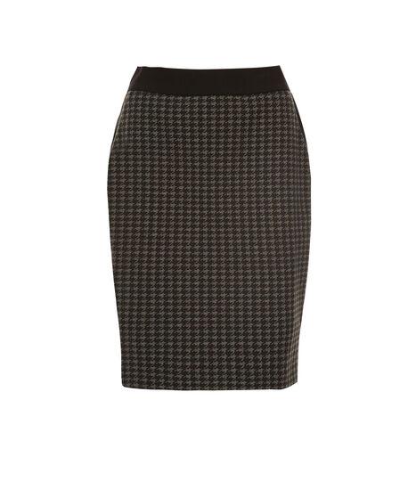 Houndstooth Pull On Skirt, Black/Grey, hi-res