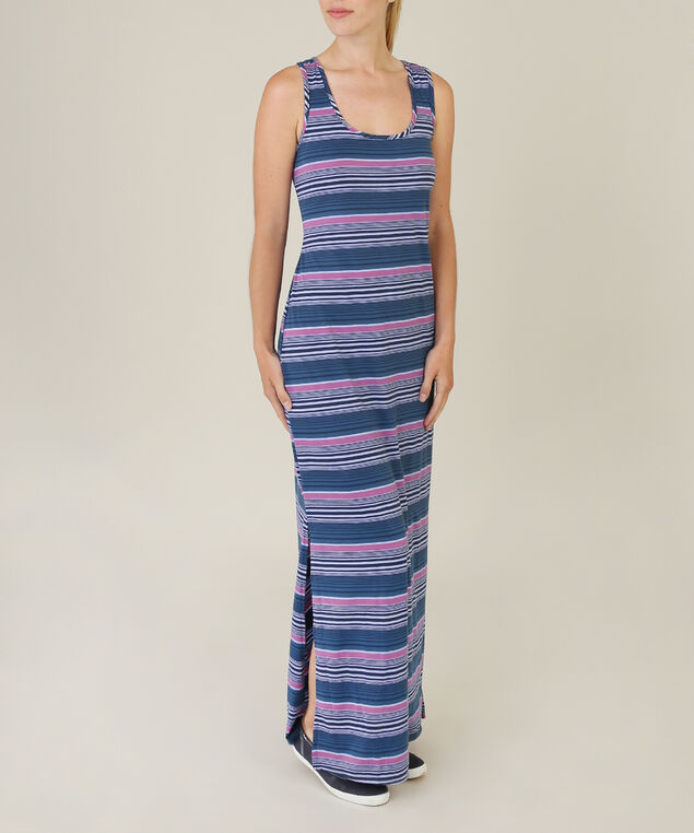 maxi side slit dress, BLUE, hi-res