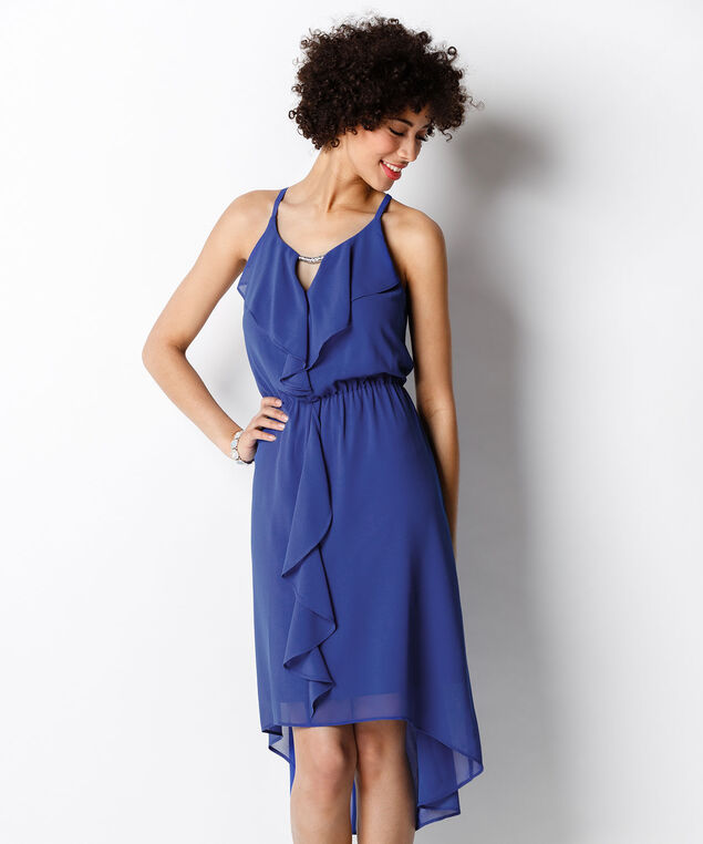 Keyhole Ruffle Front Dress, Sapphire, hi-res