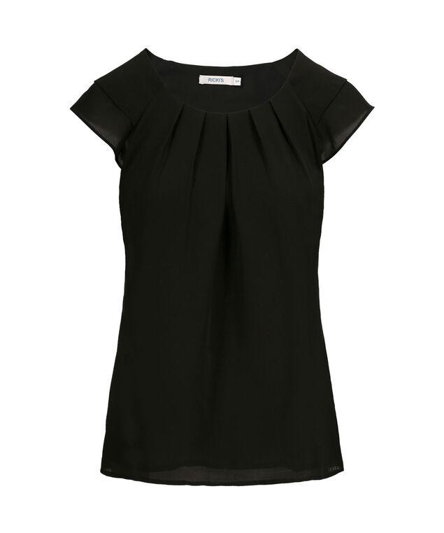 Flutter Sleeve Pintuck Blouse, Solid Black, hi-res