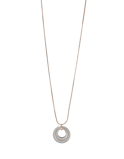 2 Tone Circle Pendant Necklace, Rose Gold/Silver, hi-res