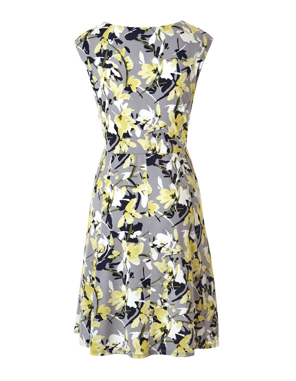 Floral Fit and Flare Dress, Green/Yellow/Navy, hi-res