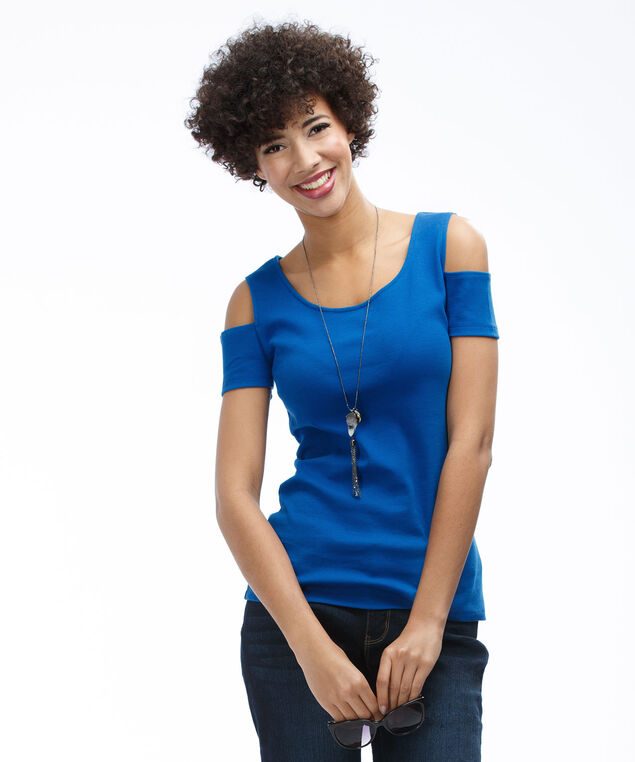 Cold Shoulder Tee, Marine Blue, hi-res