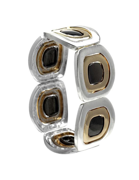 Three Tone Stretch Bracelet, Rhodium/Gold/Hemi, hi-res