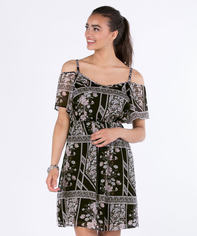Cold Shoulder Dress, Black Print, hi-res