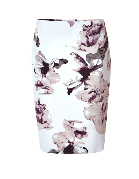 Floral Print Pencil Skirt, White/Peony/Bordeaux/Grey, hi-res