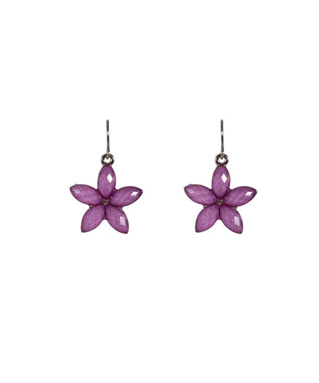 Glitter Stone Flower Earring, Violet/Rhodium, hi-res