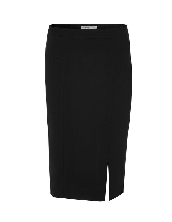 Pull-On Mid Length Pencil Skirt, Black, hi-res