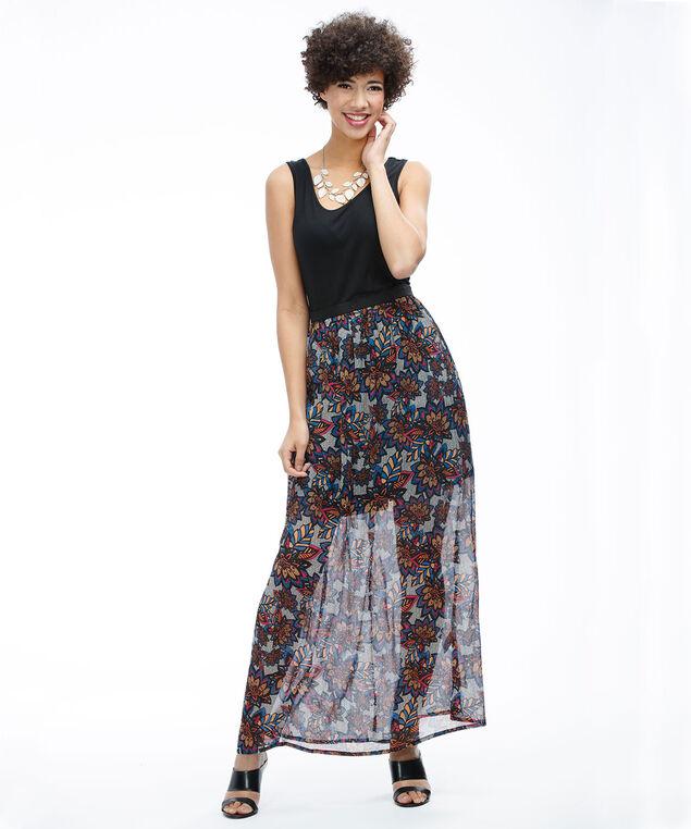 Printed Skirt Dress, Black/Orange/Pink Print, hi-res