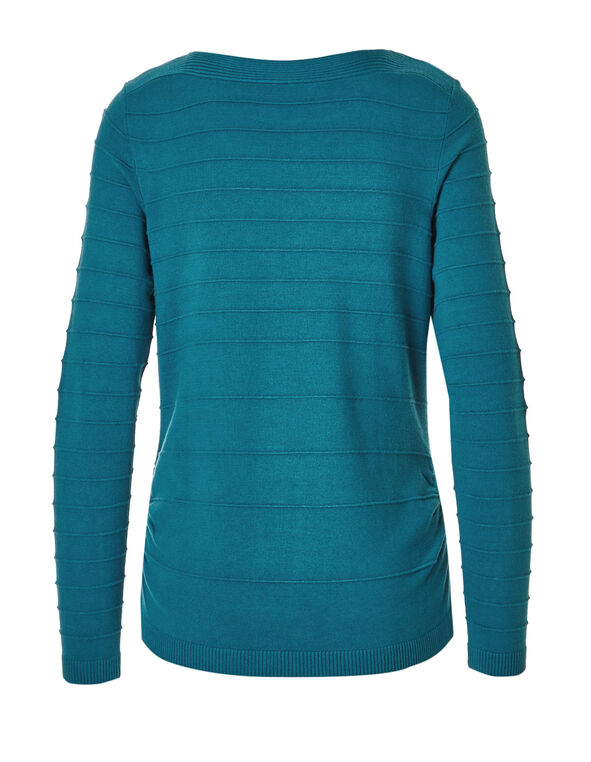 Turquoise Ottoman Stitch Sweater, Turquoise, hi-res