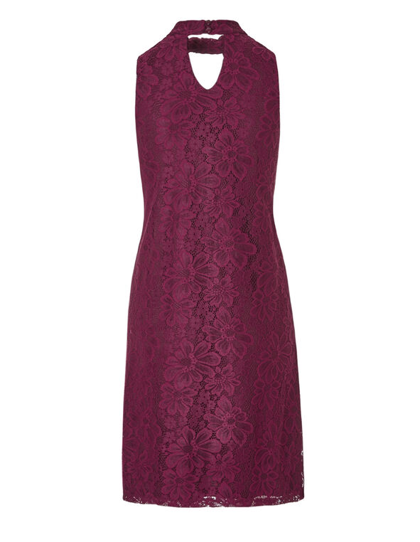 Bordeaux Lace Halter Dress, Bordeaux, hi-res