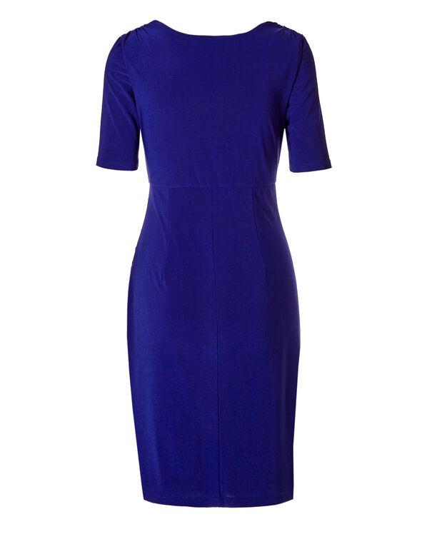 V-Neck Shift Dress, Royal Blue, hi-res