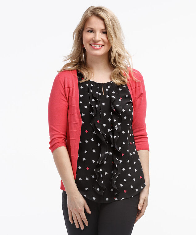 Keyhole Ruffle Front Blouse, Black/White/Coral Print, hi-res