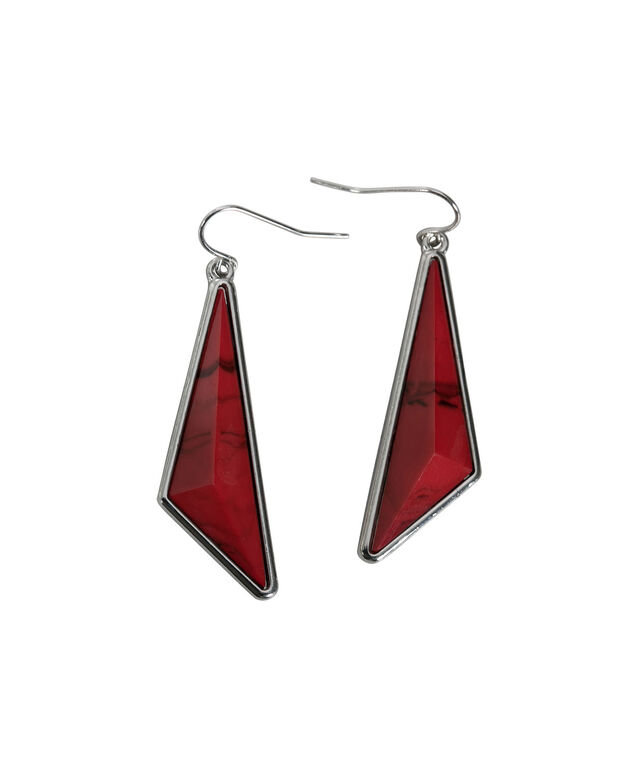Asymmetrical Natural Stone Earring, Poppy Red/Rhodium, hi-res