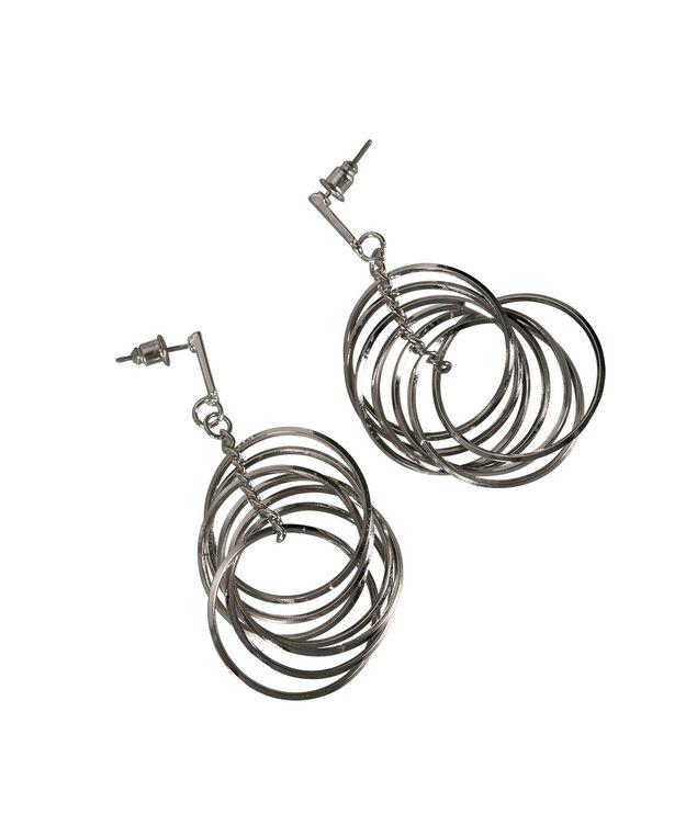 Multi Hoop Earring, Rhodium, hi-res