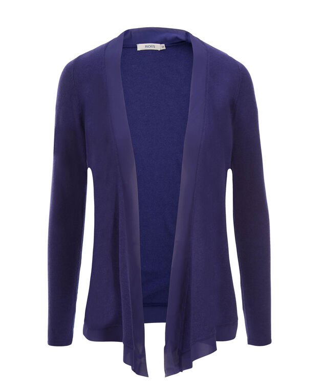 Chiffon Trim Cardi, Royal Purple, hi-res