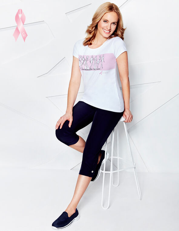 Pink Ribbon Fashion Tee, Pink/White/Black, hi-res