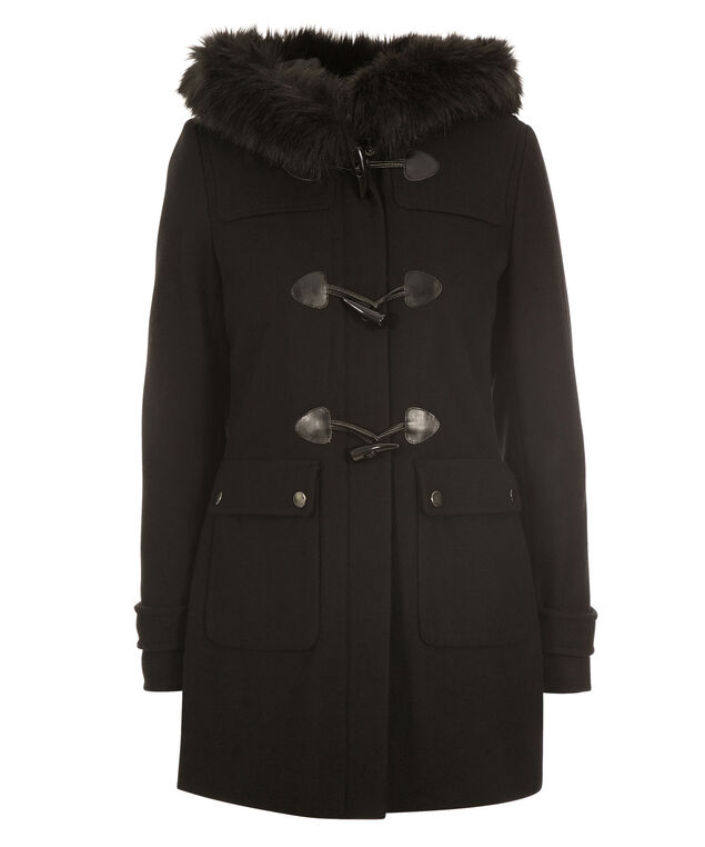 Fur Trim Toggle Coat , Black, hi-res