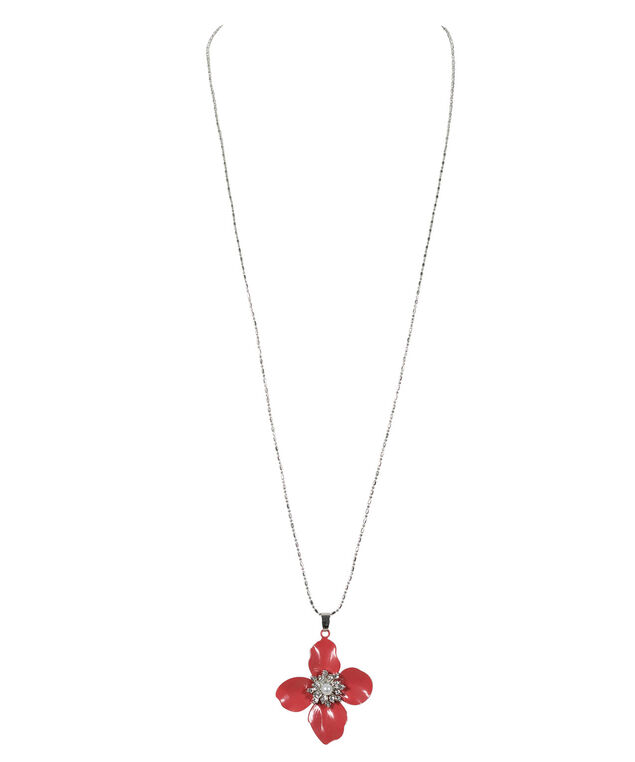 Flower Pendant Necklace, Pink/Rhodium, hi-res