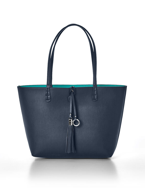 Navy Summer Tote Handbag, Navy/Turquoise, hi-res