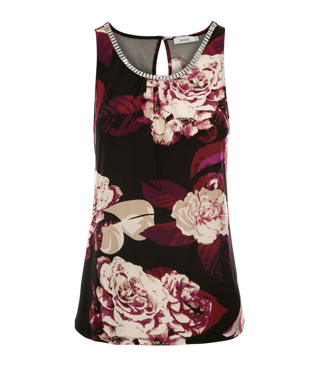 Floral Beaded Tank, Berry Print, hi-res