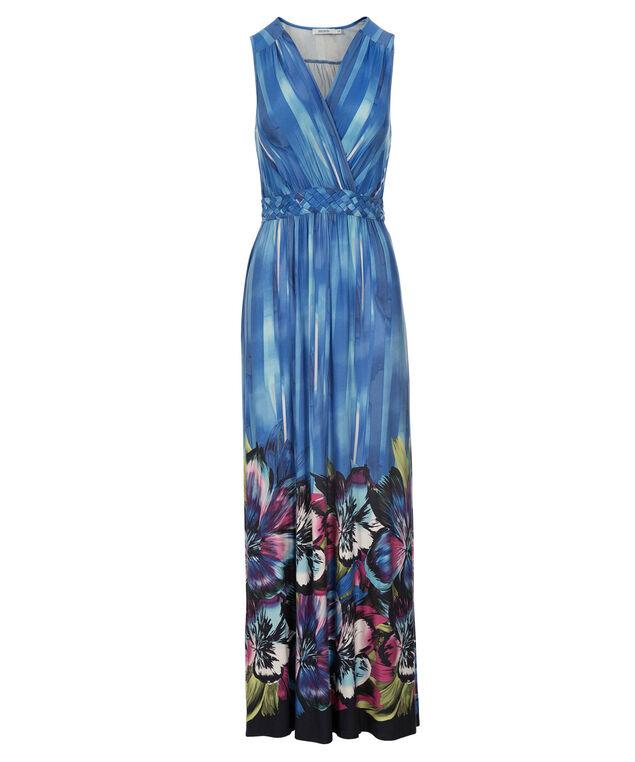 Braid Waist Maxi Dress, Blue Print, hi-res