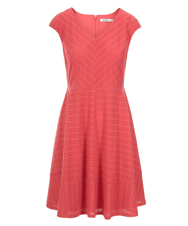 Perforated Fit & Flare Dress, Coral, hi-res