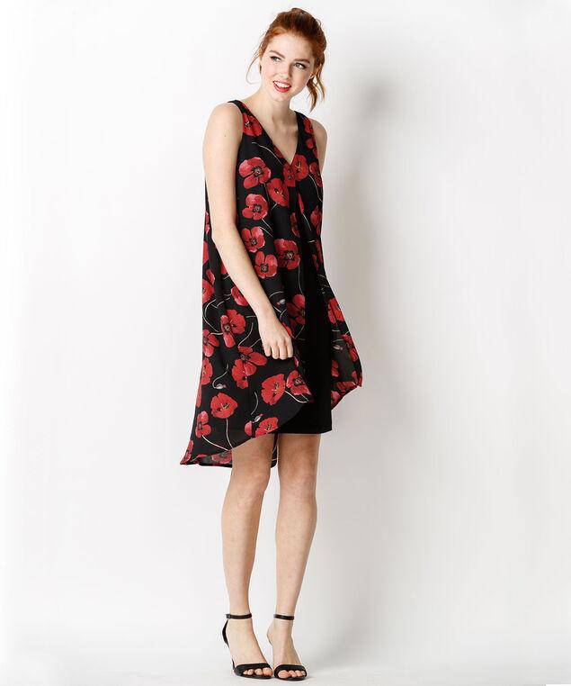 Poppy Print Fly Away Dress, Black/Red Print, hi-res