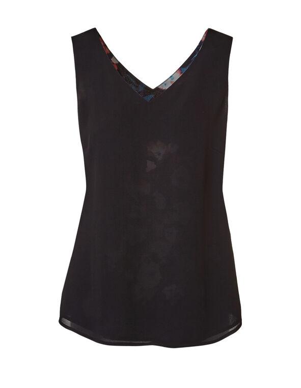 Black Floral Reversible Blouse, Black/Navy/Blue/Peach, hi-res
