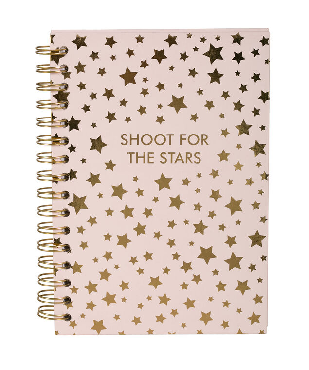 Shoot For The Stars Notebook, Pink/Gold, hi-res