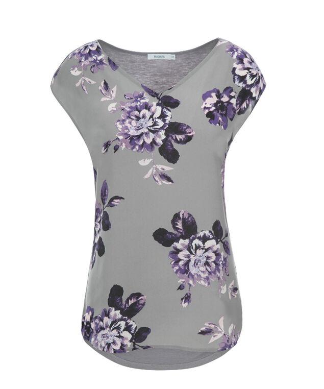 Extended Sleeve V-Neck, Grey/Purple Print, hi-res
