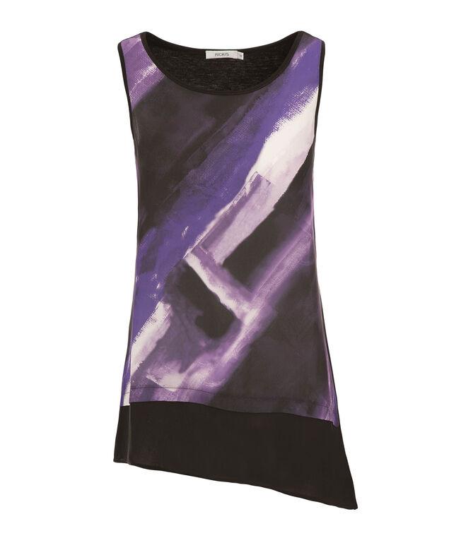 Asymmetric Woven Front, Purple Print, hi-res